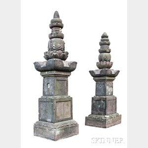Pair of Monumental Stone Pagodas