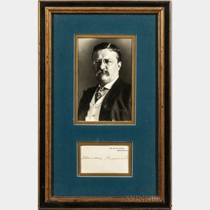 Roosevelt, Theodore (1858-1919) Signed White House Card with Photograph.