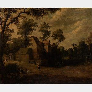 Dutch School, 17th Century      Village View with Figures and Dogs on a Lane