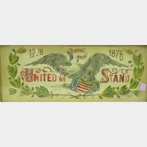 """Victorian Carved Walnut Framed Centennial Needlework Eagle and Shield Motto Panel   """"United We Stand."""""""