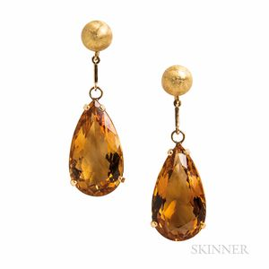 Gold and Citrine Earrings