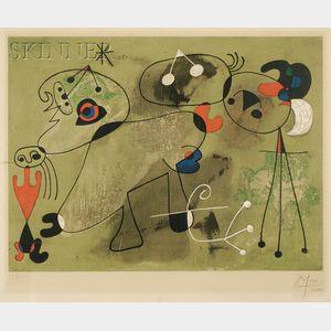 After Joan Miró (Spanish, 1893-1983)      Composition sur fond vert