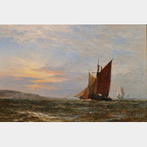Henry-Thomas Dawson (British, fl. 1860-1896)      Coastal Shipping at Sunset