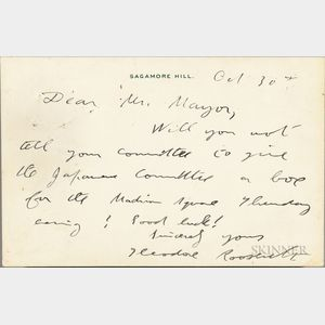 Roosevelt, Theodore (1858-1919) Autograph Note Signed 30 October 1917.