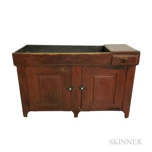 Large Red-painted Maple and Pine Dry Sink