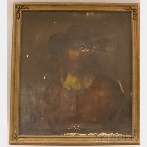 Framed Oil on Canvas Portrait of a Man by Dimitri Romanovski (American, d. 1971), After Rembrandt Harmensz...
