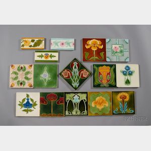 Fifteen Decorated Tiles: Various Makers