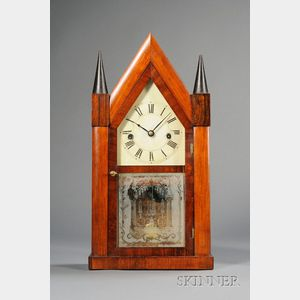 Rosewood Sharp Gothic Clock by H.N. Welch and Company