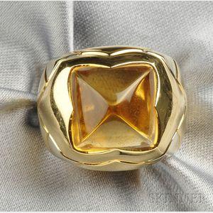 "18kt Gold and Citrine ""Pyramid"" Ring, Bulgari"