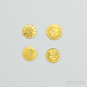 Sold for: $2,583 - Four California Fractional Gold Coins