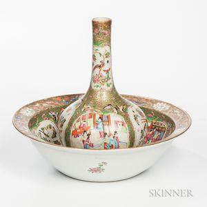 Large Export Porcelain Rose Medallion Bowl and Vase