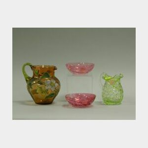 Two Victorian Art Glass Pitchers and Two Bowls.