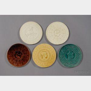 Five Medallion Tiles: J. & J.G. Low Tileworks