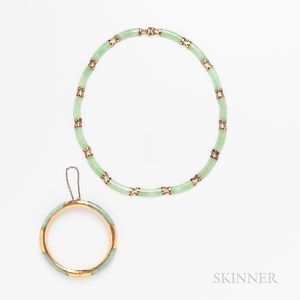 14kt Gold and Jade Hinged Bangle and Necklace