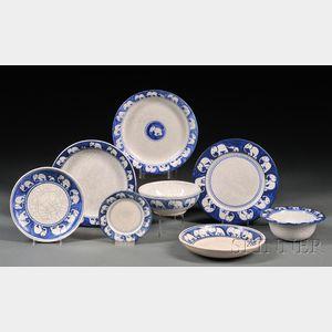 Eight Pieces of Dedham Elephant Pottery