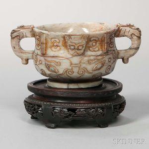 Hardstone Archaic-style Gui  -shape Vessel