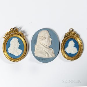 Three Wedgwood & Bentley Jasper Portrait Medallions