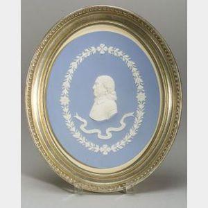 Wedgwood Solid Light Blue Jasper Portrait Plaque of Oliver Cromwell