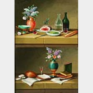 Continental School, 19th Century    Lot of Two Still Lifes:  The Repast and