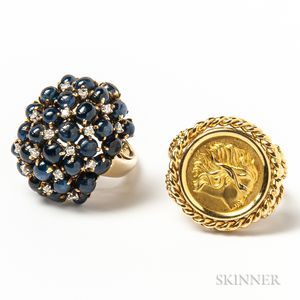 Corletto 18kt Gold Justice Ring and a 14kt Gold, Diamond, and Sapphire Cabochon Cluster Ring