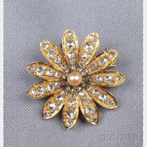 Antique 18kt Gold, Seed Pearl, and Diamond Flower Pendant/Brooch