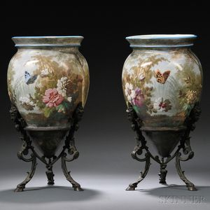 Pair of Hand-painted Pottery Vases on Bronze Stands