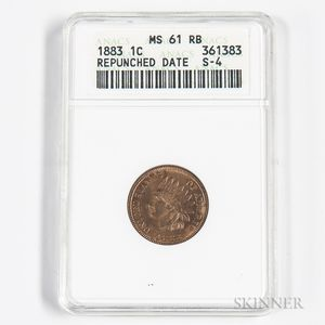 1883 Indian Head Cent, ANACS MS61RB.