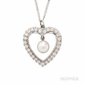 14kt White Gold, Cultured Pearl, and Diamond Pendant