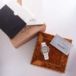 Stainless Steel Limited Edition Blancpain Reference 2185F-1142-71 Flyback Chronograph Wristwatch