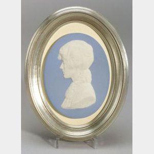 Wedgwood Solid Light Blue Jasper Portrait Plaque of Mrs. Siddons