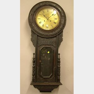 Late Victorian-style Carved and Grain Painted Wall Clock.