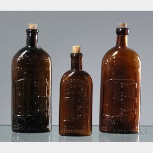 "Three Amber Glass Warner's ""Safe"" Bottles"