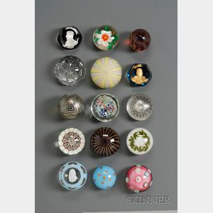 Fifteen Art Glass Paperweights