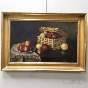 American School, 19th Century       Still Life with Basket of Fruit