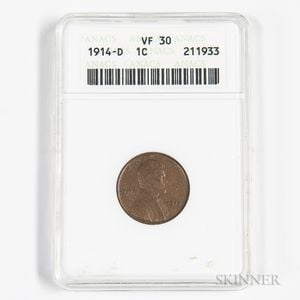 1914-D Lincoln Cent, ANACS VF30.