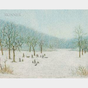 American School, 20th Century      Winter Scene with Figures