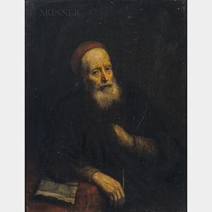 School of Abraham van Dyck (Dutch, 1635-1672)      Portrait of an Ancient Bearded Man in a Red Skull Cap