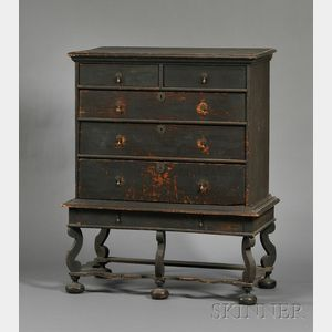 Sold for: $213,300 - Rare Painted Pine and Maple Chest on Frame
