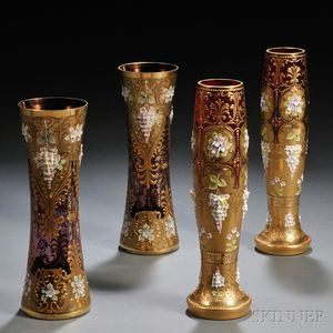 Two Pairs of Bohemian Moser-type Vases