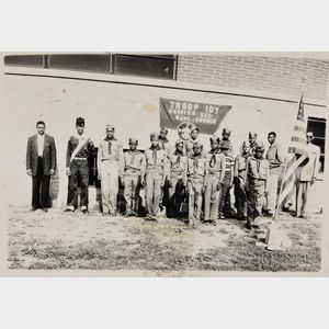 Black and White Photograph of an African American Boy Scout Troop.