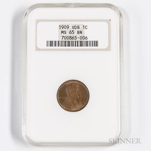 1909 VDB Lincoln Cent, NGC MS65BN.