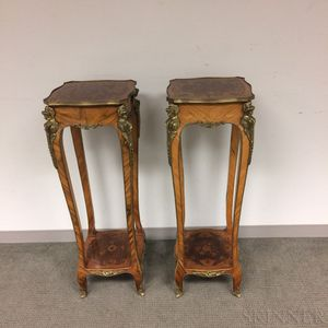 Pair of Louis XV-style Ormolu-mounted Marquetry Walnut Pedestals