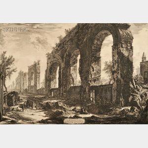 Giovanni Battista Piranesi (Italian, 1720-1778)      Two Plates from VEDUTE DI ROMA:   Veduta degli Avanzi del Foro di Nerva