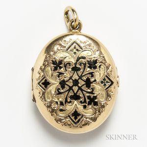 14kt Gold and Enamel Locket