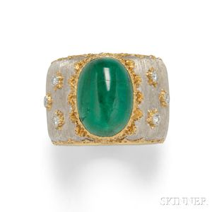 18kt Bicolor Gold, Emerald, and Diamond Ring, Buccellati