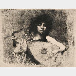 Albert Besnard (French, 1849-1934)      La joueuse de luth