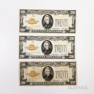 Three 1928 $20 Gold Certificates, Fr. 2402.