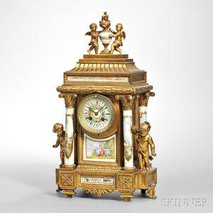 Gilt-metal and Porcelain Mantel Clock