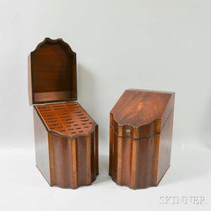 Pair Inlaid Mahogany Veneer Knife Boxes