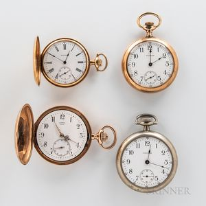 Two 14kt Gold Hunter-case Watches and Two Others